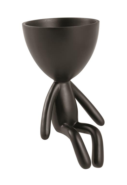 Cachepot Boneco Bob de Poliresina Preto 10x8cm
