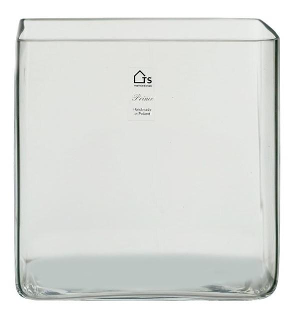 Vaso Artesanal de Vidro Polonês Kwadrat 18x18cm