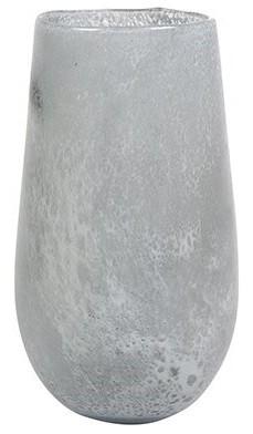 Vaso de Vidro Branco Gelo Liz 14x24cm
