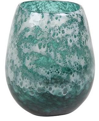 Vaso de Vidro Artesanal Azul Tanzanita Liz 18x22cm