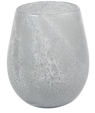 Vaso de Vidro Branco Gelo Liz 18x22cm