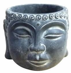 Vaso Buddha em cimento Artesanal Preto 15x12cm