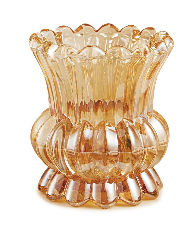 Vaso de Cristal trabalhado - 11cm x 11cm Cor: Champanhe