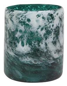 Vaso Cilindro de Vidro Azul Oceano Liz 11x13cm