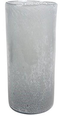 Vaso Cilindro de Vidro Branco Gelo Liz 12x20cm