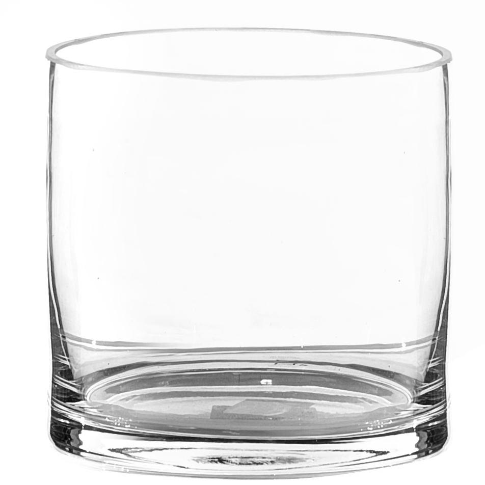 Vaso Cilindro de Vidro Artesanal Polonês 16x16cm