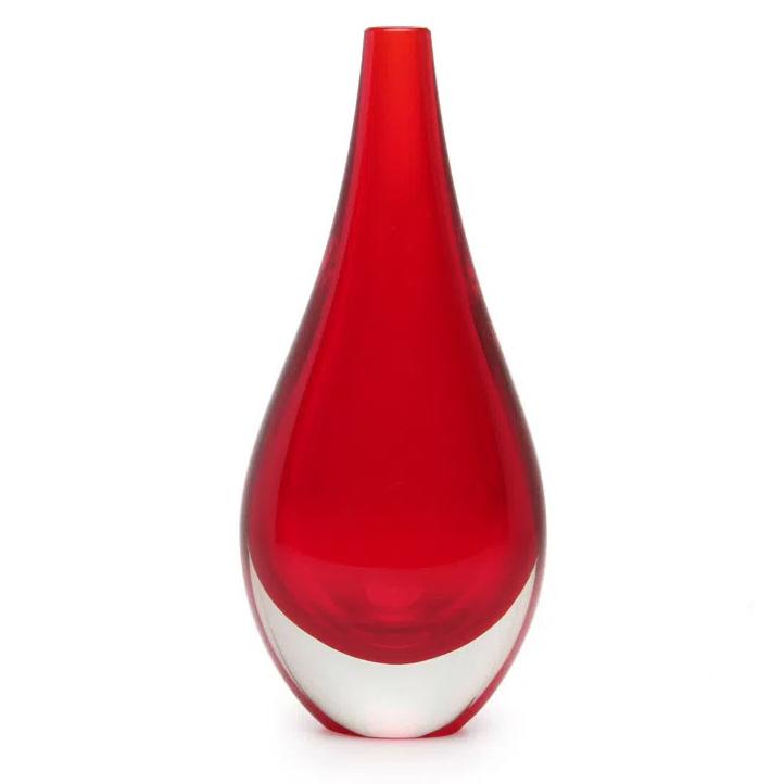 Vaso de Cristal Murano Vermelho 9x22cm