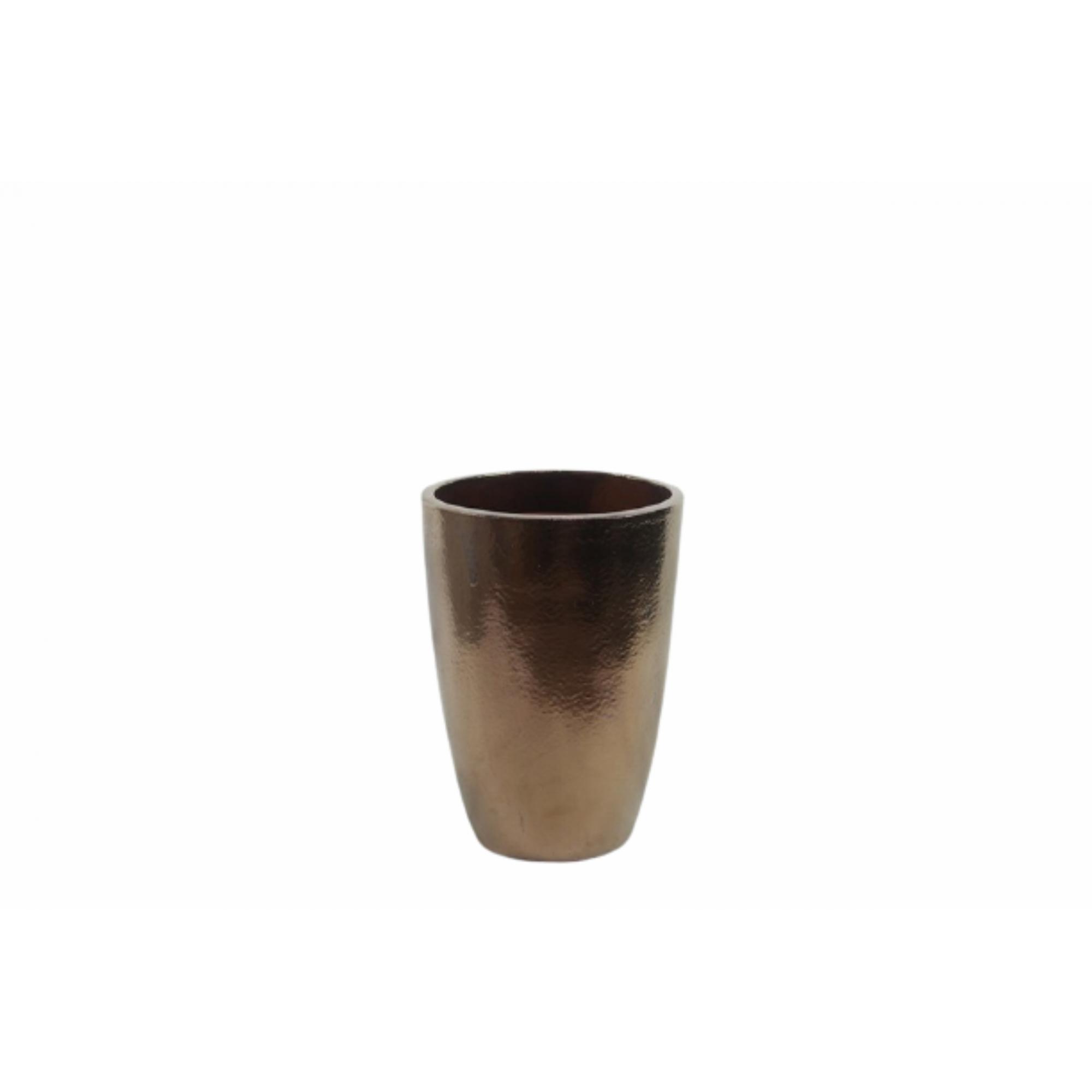 Vaso de Cerâmica Artesanal Dourado Liv 28x43cm