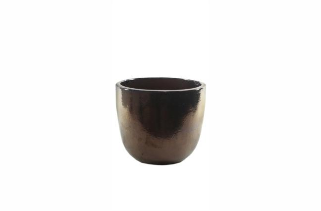 Vaso de Cerâmica Caramelo Dourado Rico 36x33cm