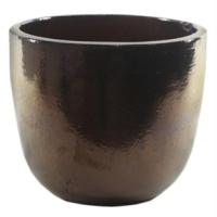 Vaso de Cerâmica Caramelo Dourado Rico 22x20cm