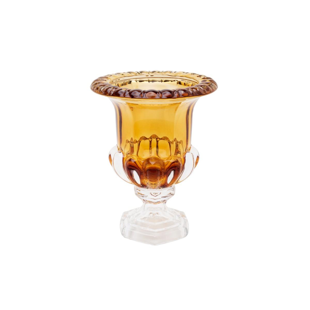 Vaso de Cristal Âmbar c/Pé Sussex 20X26cm