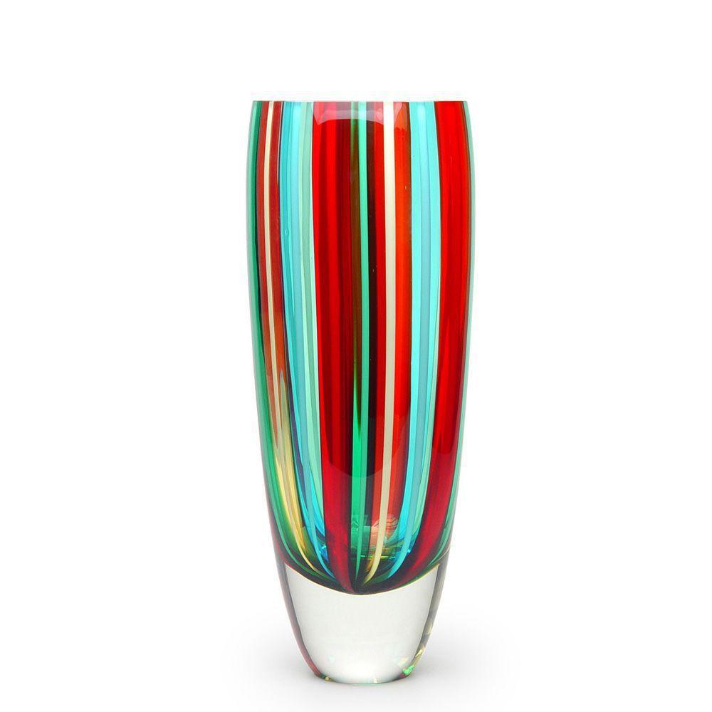 Vaso de Cristal Murano Bastões Coloridos c/Fios 13x34cm