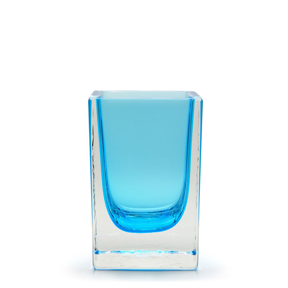 Vaso de Cristal Murano Água Marinha Transparente 7x11cm