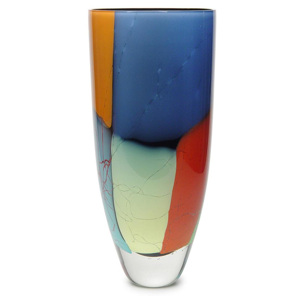 Vaso de Cristal Murano Multicolor 16x36cm