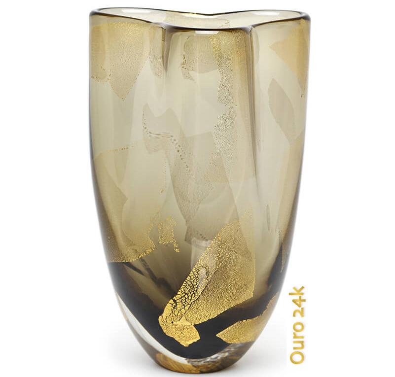 Vaso de Cristal Murano Trevo Ouro Fume 24k 12x19cm