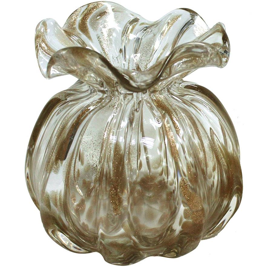 Vaso de Cristal Murano Trouxinha Champanhe 12x12cm