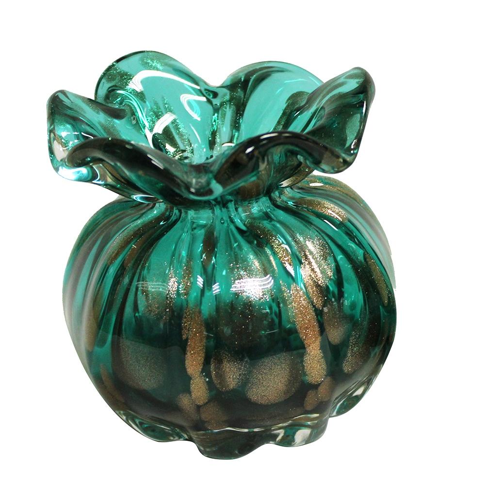 Vaso de Cristal Murano Trouxinha Verde Esmeralda 12x12cm