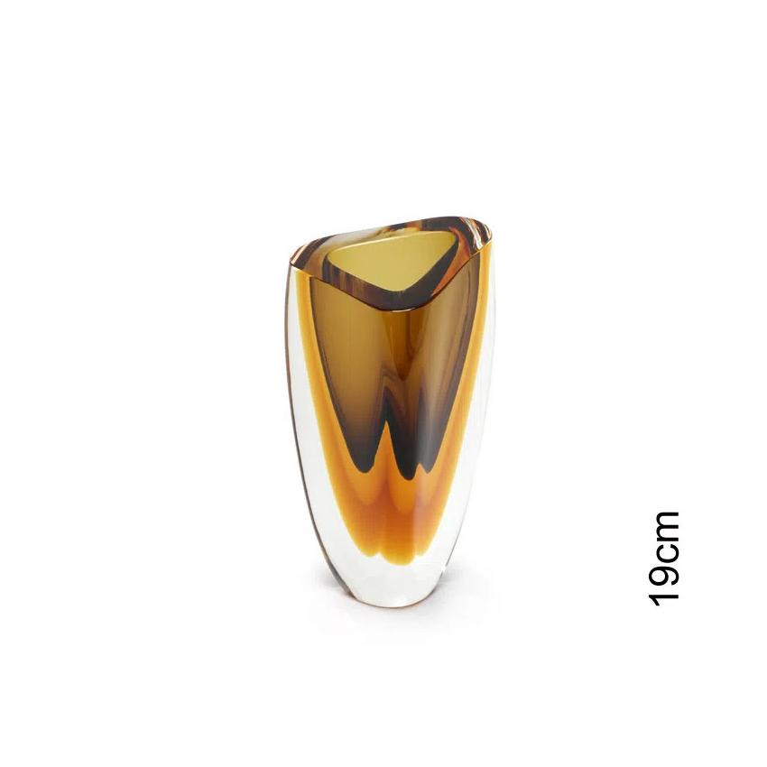 Vaso de Cristal Murano Triangular Âmbar Fumê 9x19cm