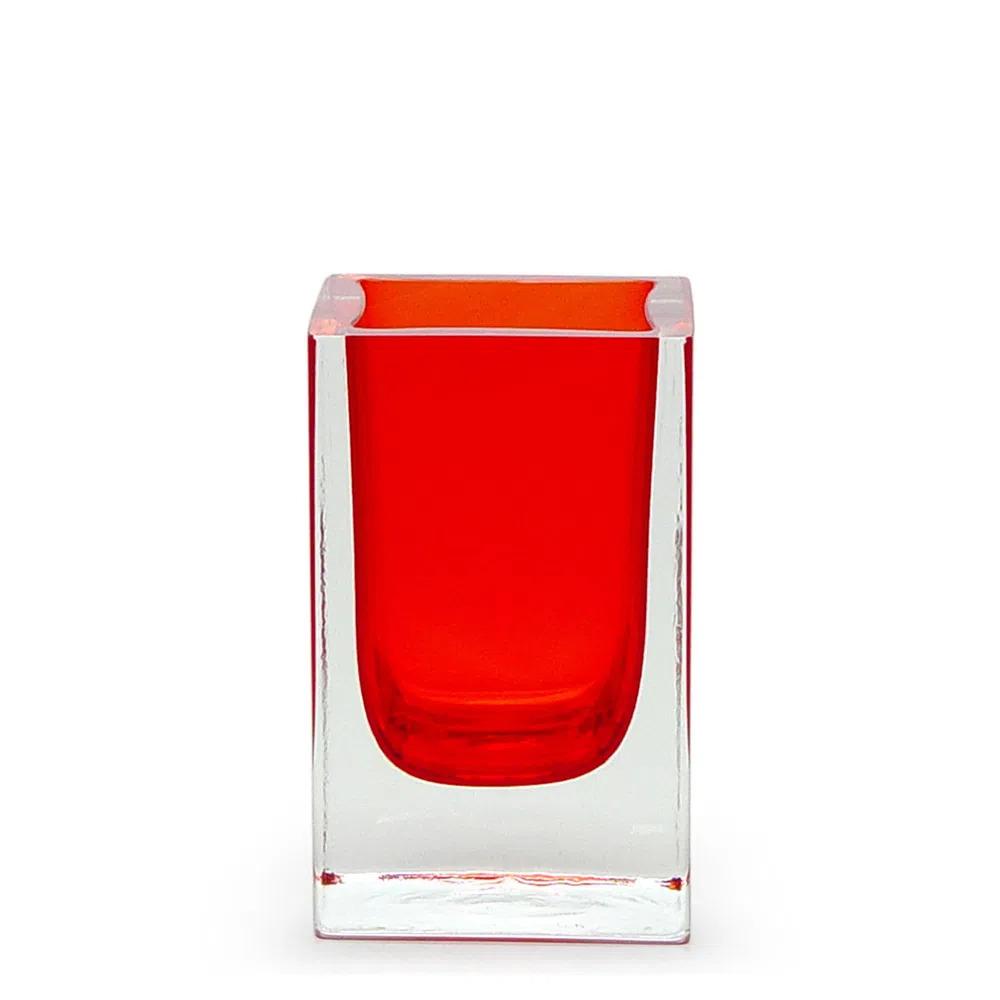 Vaso de Cristal Vermelho 7x12cm