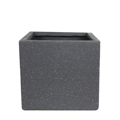 Vaso  de Fibrocimento Preto Artesanal Ivo 28x26cm