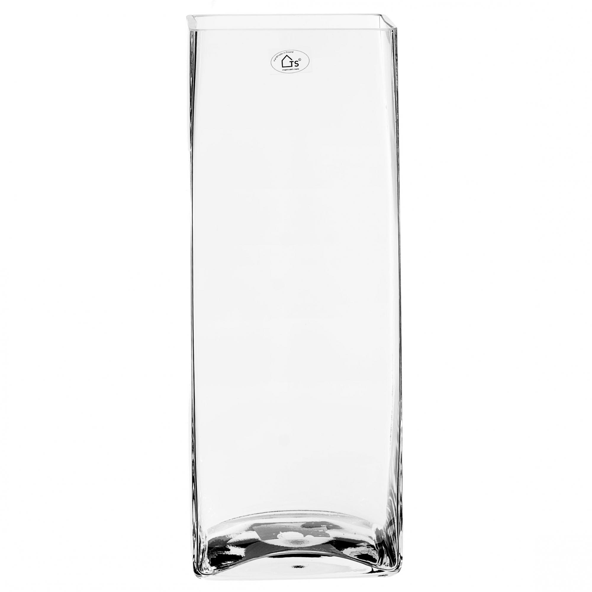 Vaso de Vidro Artesanal Polonês kwadrat 15x40cm