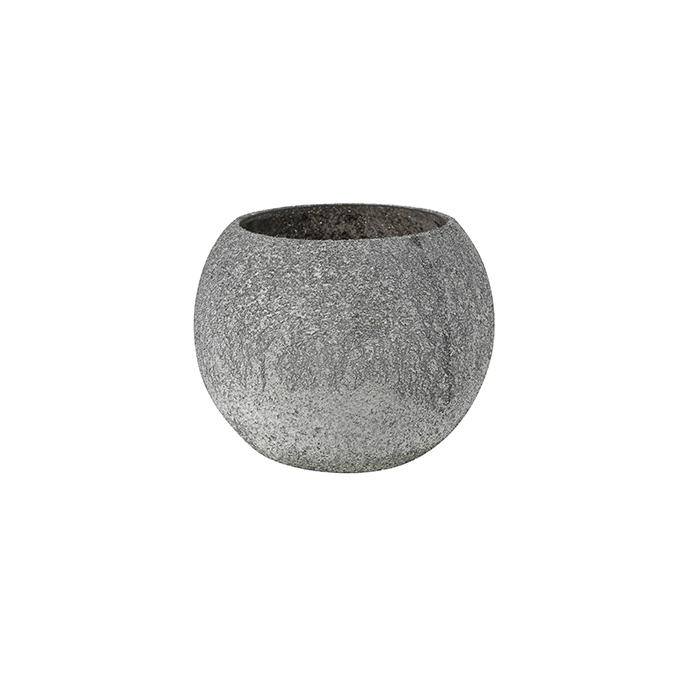 Vaso de Vidro Cinza Elke 10x8cm