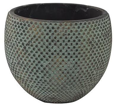 Cachepot de Cimento Dourado Artesanal Fay 16x12cm