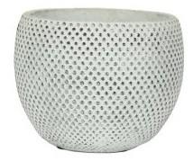 Cachepot de Cimento Branco Artesanal Fay 18x14cm