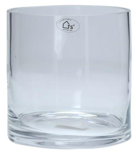 Vaso Cilindro de Vidro Artesanal Polonês 18x18cm