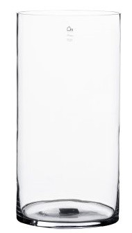 Vaso Cilindro de Vidro Artesanal Polonês 19x30cm