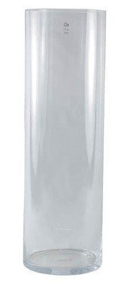 Vaso Cillindro em Vidro Artesanal Polonês 25x80cm