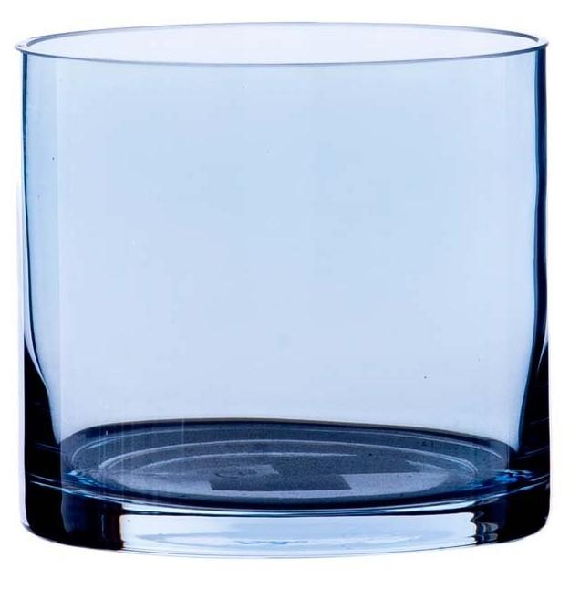 Vaso Cilindro de Vidro Azul Artesanal Polonês Lust Mar 20x20cm