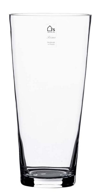 Vaso em vidro artesanal polonês (Cone) -  19cm x 70cm Cor: Transparente