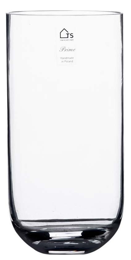Vaso Curva de Vidro Artesanal Polonês 16x30cm