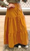 Saia Midi com botões e abertura frontal em fake tencel