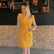 Vestido em Alfaiataria com Bolso de Lapela e Cinto - 6596