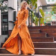 Vestido Longo Manga Longa com Faixa - 6591