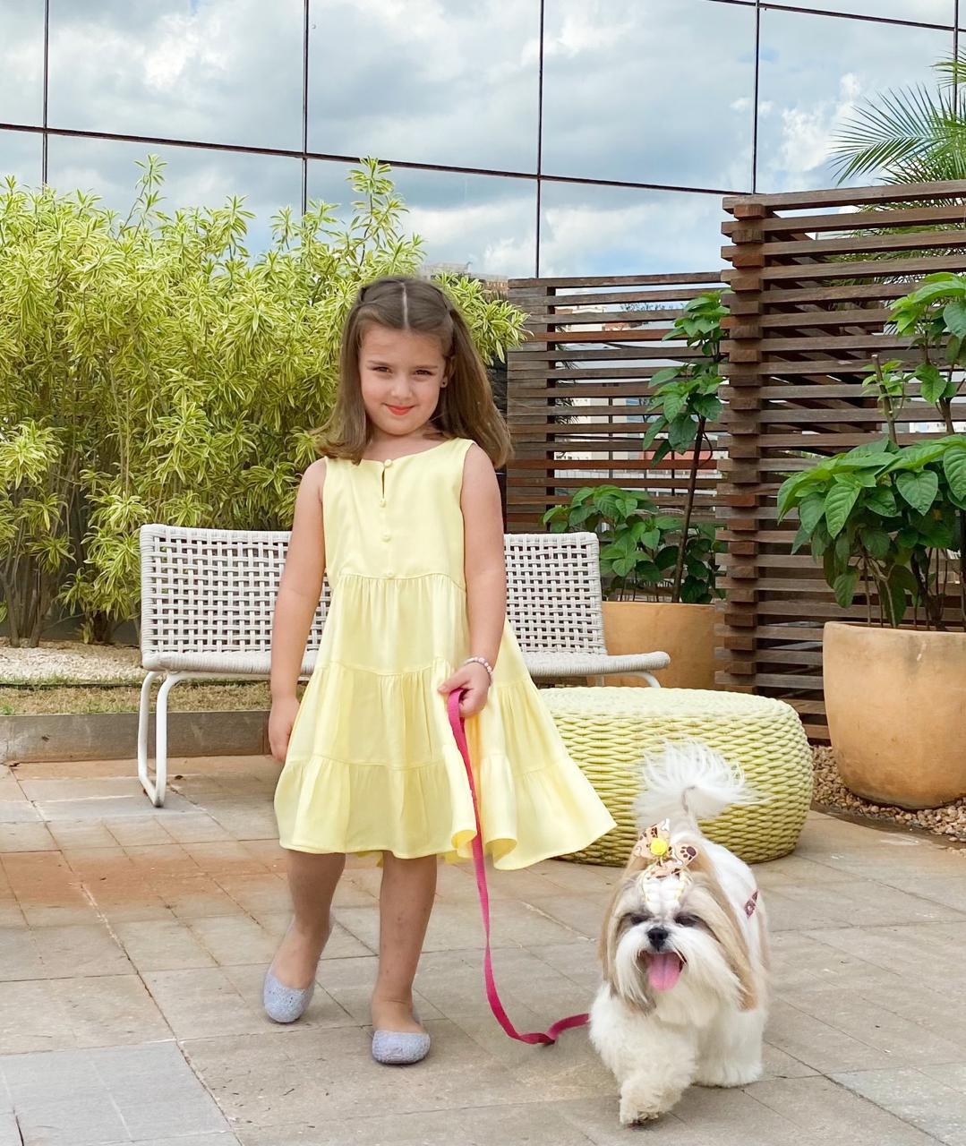Vestido cavado infantil marias com botões |Le'Rizz