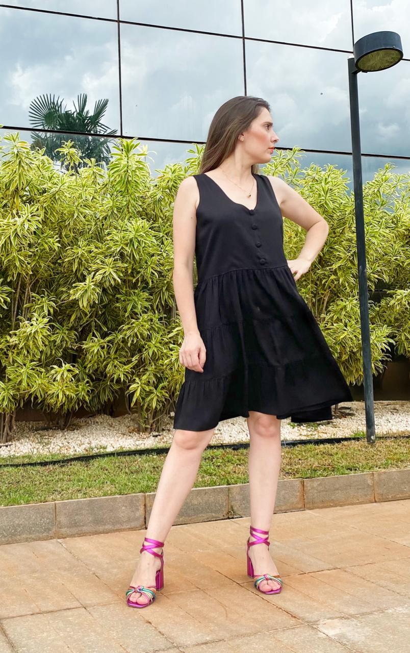 Vestido cavado marias com botão | Le'Rizz