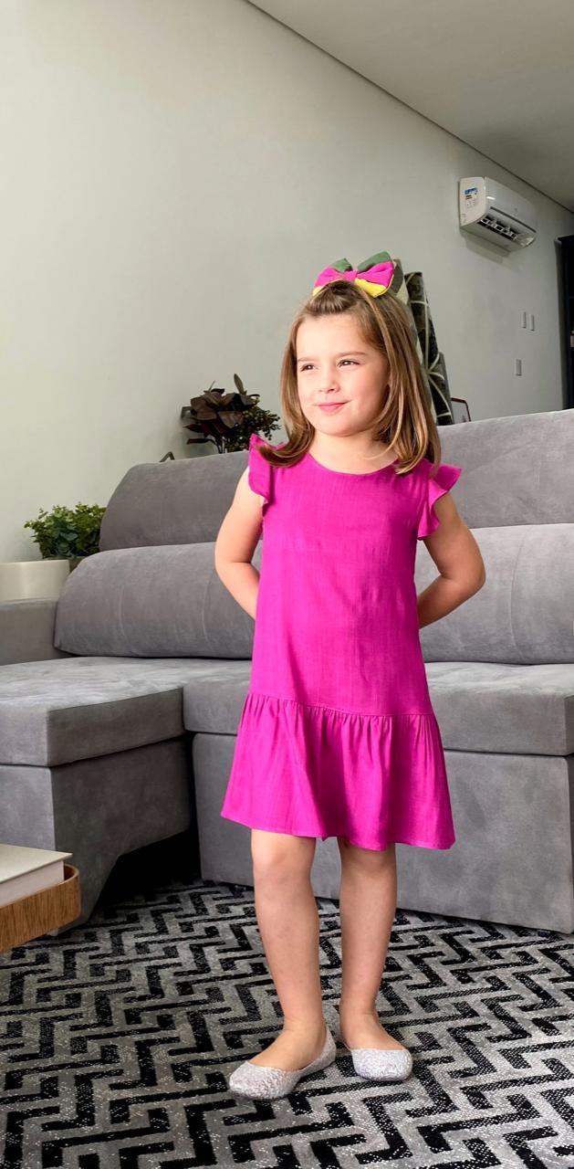 Vestido infantil manga godê com botões |Le'Rizz