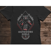 Camiseta Outdoors Girls - Canal Outdoors - Preta / Feminina / Babylook