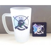 KIT Caneca de Chope NSI - Vidro jateado + Descanso de copo em Neoprene