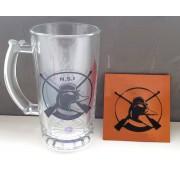 KIT Caneca de Chope NSI - Vidro liso + Descanso de copo em Couro Legítimo