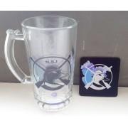 KIT Caneca de Chope NSI - Vidro liso + Descanso de copo em Neoprene
