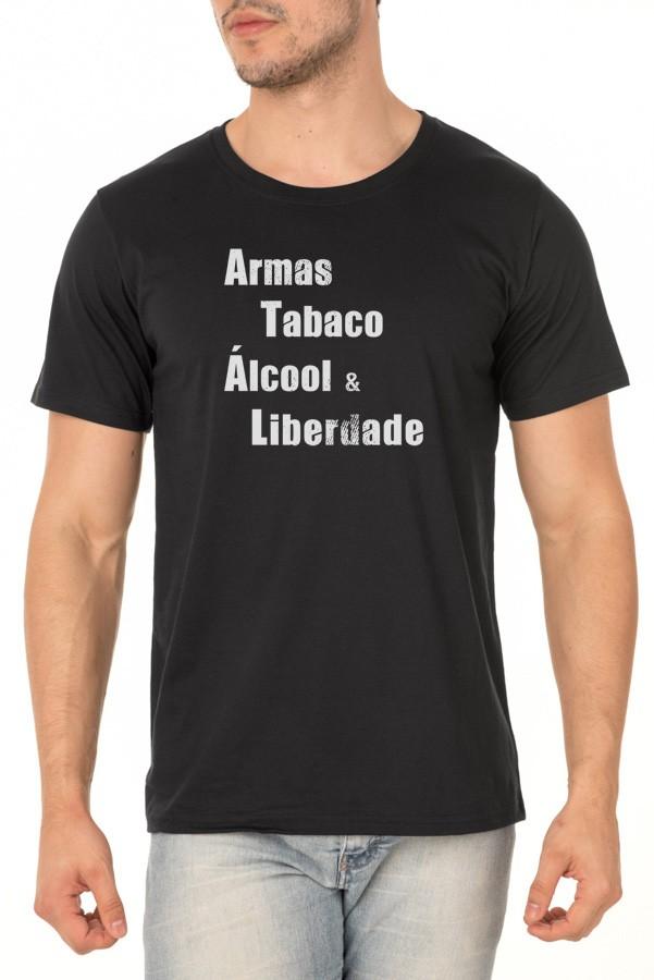 Camiseta Armas, Tabaco, Álcool & Liberdade - Ninguém se Importa Podcast - Unissex