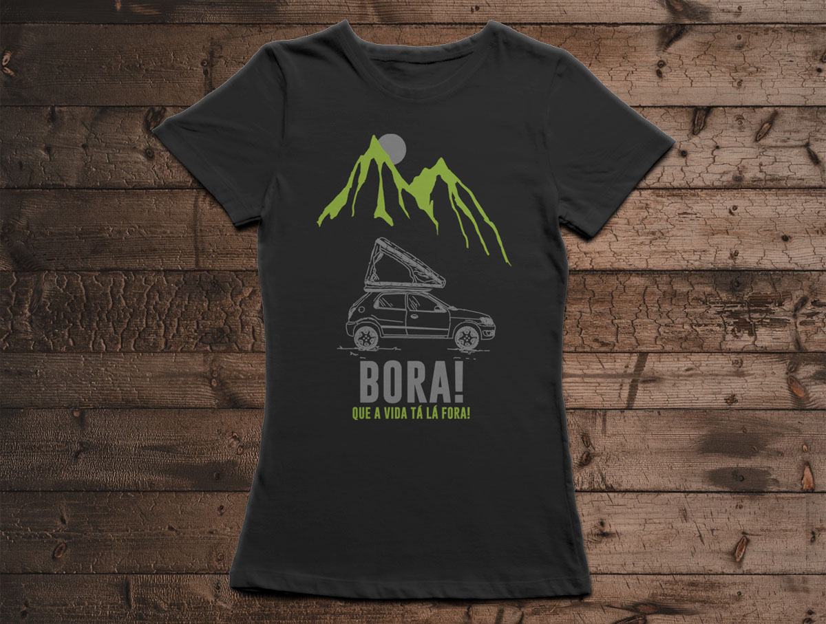 Camiseta BORA! - Canal Outdoors - Preta / Feminina / Babylook