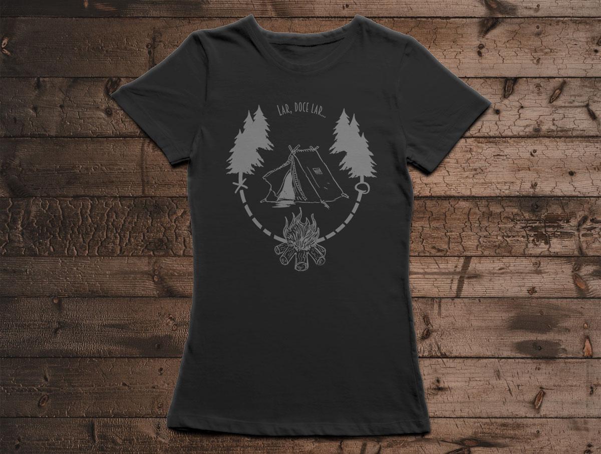 Camiseta Lar, Doce Lar - Canal Outdoors - Preta / Feminina / Babylook