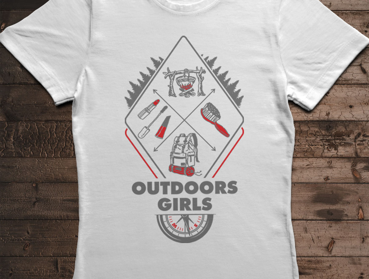 Camiseta Outdoors Girls - Canal Outdoors - Branca / Feminina / Babylook