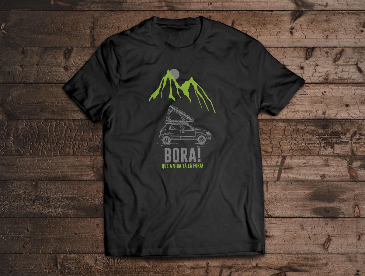 Camiseta BORA! - Canal Outdoors - Preta / Unissex