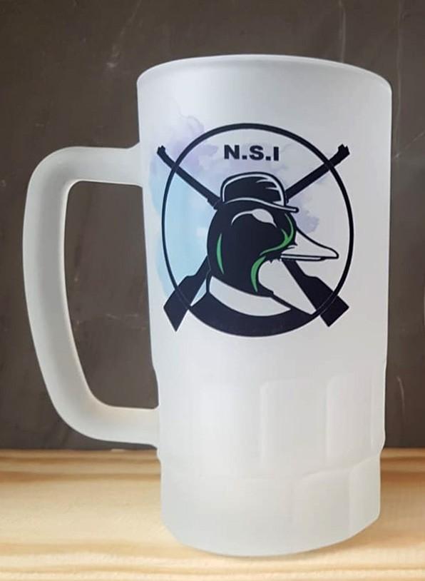 KIT Caneca de Chope NSI - Vidro jateado + Descanso de copo em Couro Legítimo